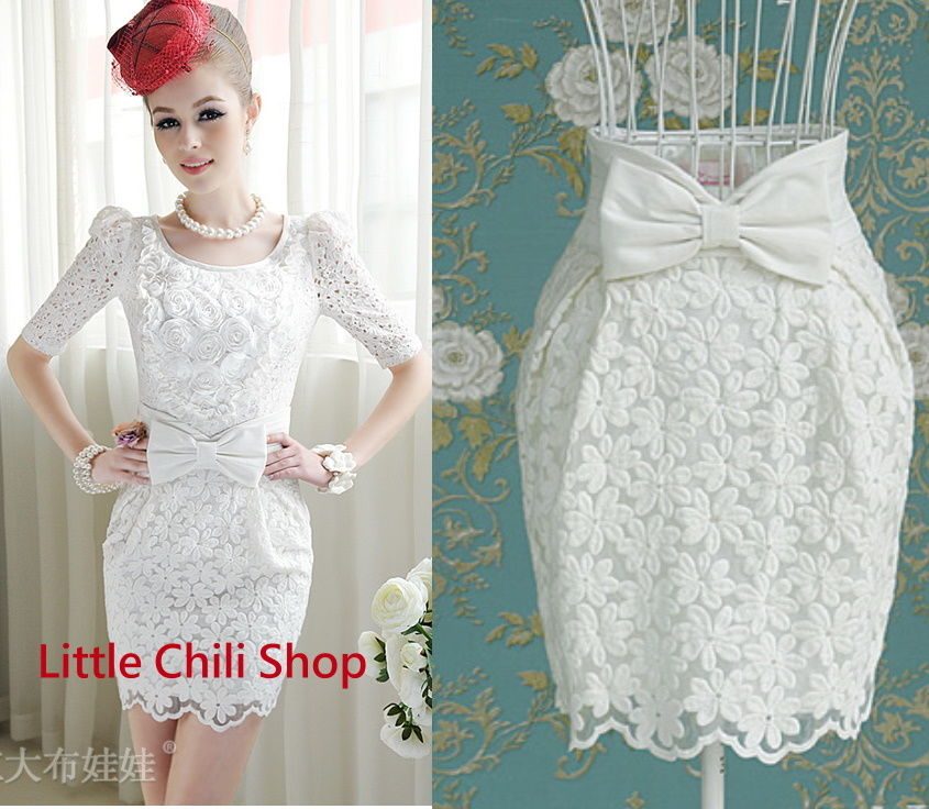 Princess Lolita Cute Sweet Bow White Flower Lace High Waist A Line Slim Skirt | eBay
