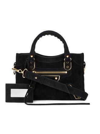 mini metallic women bag suede black