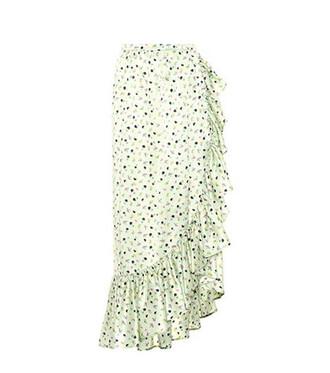 skirt floral silk green