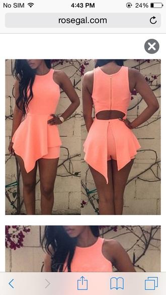 romper peach asymmetrical summer summer outfits cut-out