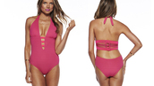 swimwear,monokini,beach,woven,one piece swimsuit,bikini,crochet,back detail,fuschia,tie back,hot pink