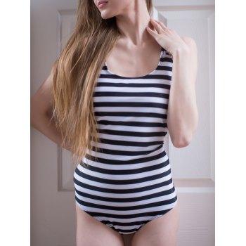 Women\'s U Neck Striped Backless One-Piece Swimsuit (BLACK,S) in One-Pieces | DressLily.com