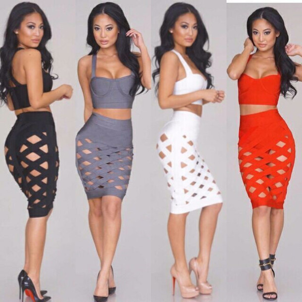 4e0d3f40ea59 dress les bijouteries bandage dress clubwear party dress 2 piece bandage  dress bodycon dress bodycon sexy