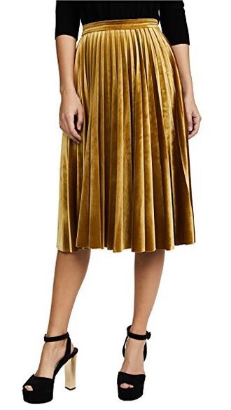 skirt velvet skirt pleated velvet yellow