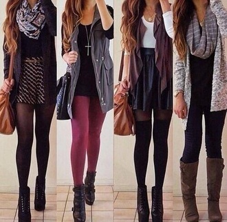 cardigan tights infinity scarf cross necklace high heels purse skirt burgundy black grey scarf shoes jacket