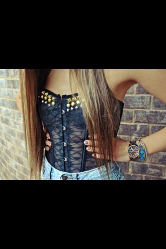 black spikes bustier top