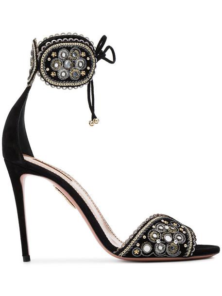 Aquazzura women sandals leather suede black shoes