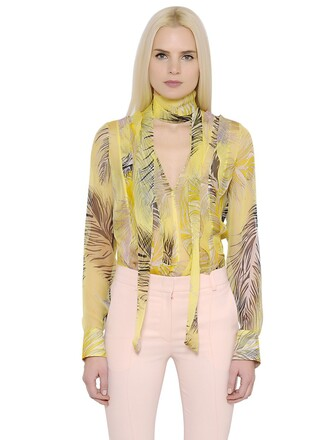 shirt feathers chiffon silk yellow top