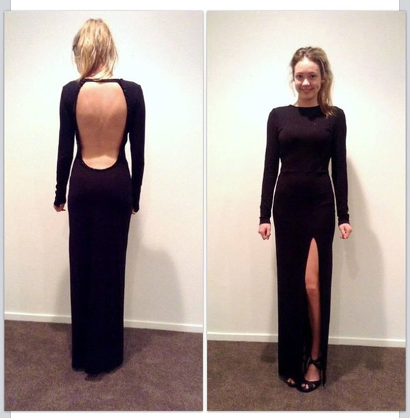 dress black backless long sleeve maxi dress