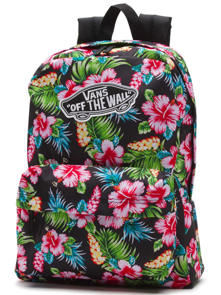 747e58317e Mochila Vans Realm Hawaiian Floral Black Backpack NUEVA ...