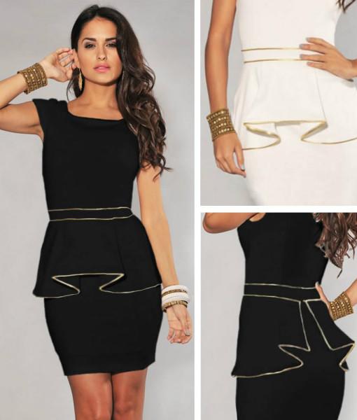 M L XL Plus Size 2014 New Fashion Women Elegant Black and White Vintage Peplum Dress Bodycon Casual Dress Bandage Dress N120 | Amazing Shoes UK