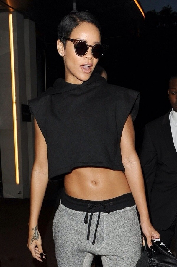 blouse rihanna crop tops black sweatpants pants sunglasses