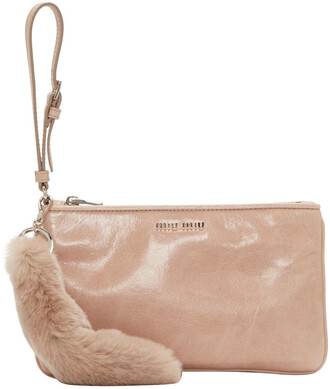 fur pouch leather pink bag