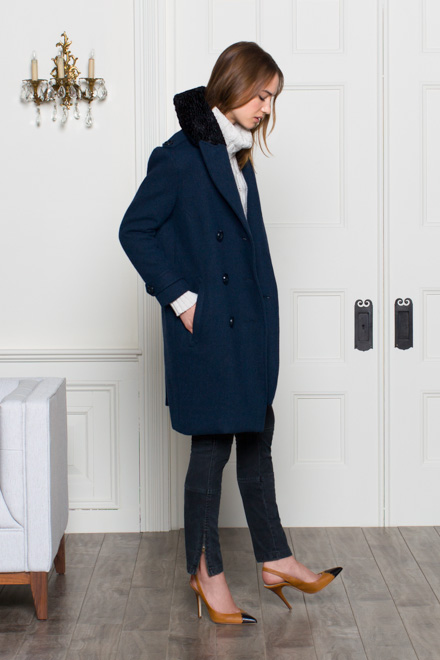 Long Peacoat - Navy | Emerson Fry