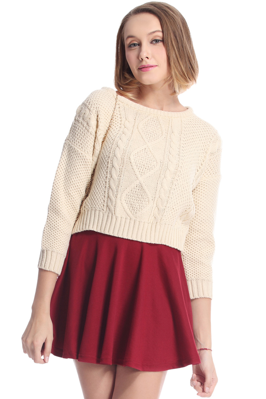 ROMWE | Cable Knit Cream Short Jumper, The Latest Street Fashion