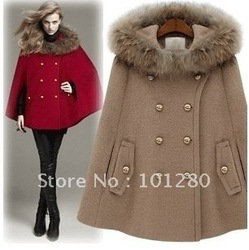 nieuwe aankomst mode bontkraag poncho met capuchon jas bovenkleding meter een kameel rode