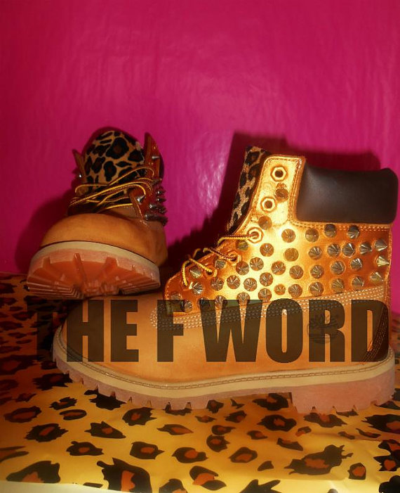 Spike leopard timberland by fwordinc on etsy