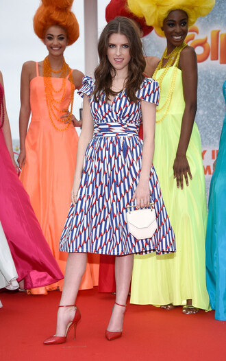 dress midi dress anna kendrick cannes pumps colorful shoes red shoes