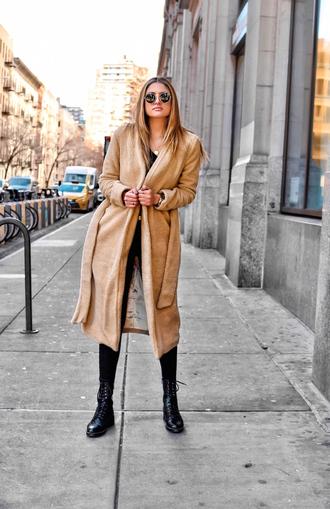 fashionismyforte blogger coat jeans shoes jewels belt sunglasses teddy bear coat boots winter outfits