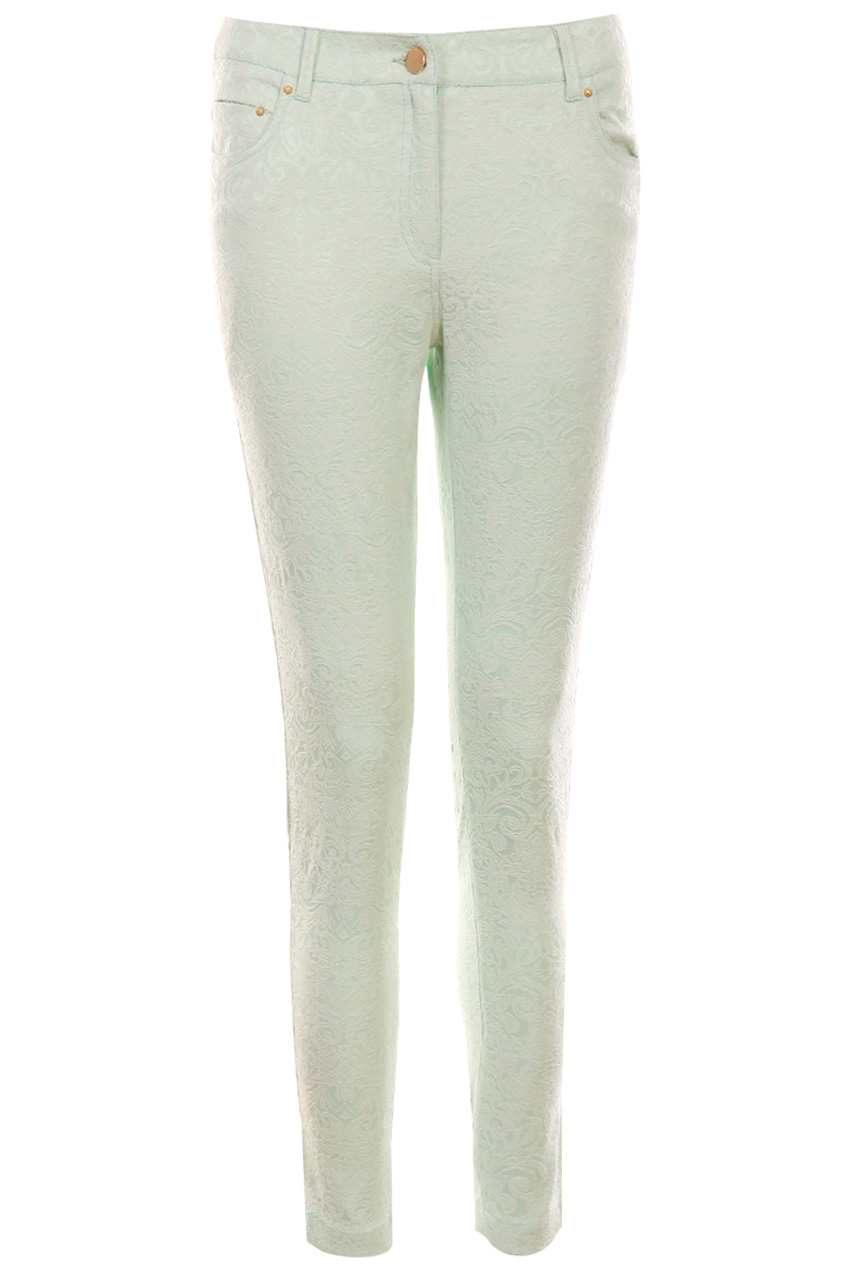 ROMWE | Floral Embroidered Slim Light-green Pants, The Latest Street Fashion