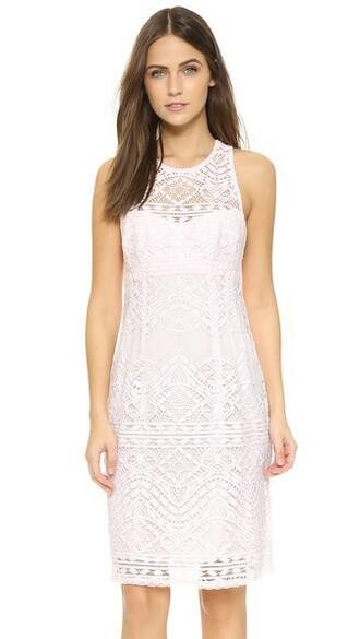 dress shift dress pearl lace pink