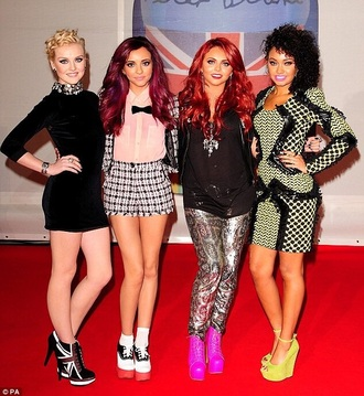 little mix union jack heels perrie edwards black dress hairstyles shoes