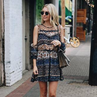 dress tumblr mini dress long sleeves long sleeve dress printed dress pattern patterned dress bag sunglasses