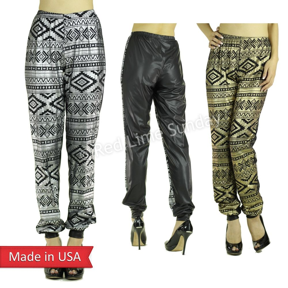 Gold Silver Aztec Tribal Foil Print Black Faux Leather Jogger Pants Bottom USA