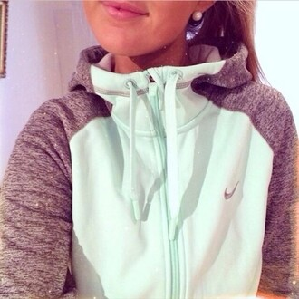 top nike nike air hoodie tick white purple sleeves women ladies zip zip-up lovely jacket sweatshirt sweater coat shorts mint grey sporty nike mint green blue