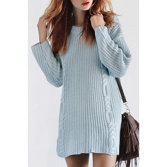dress sweater oversized sweater rose wholesale winter sweater knitted sweater knitted dress baby blue casual casual dress