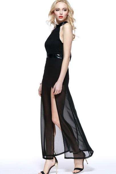 089340ebf8cb2 dress black dress slit dress sexy dress maxi dress cut-out dress maykool  summer
