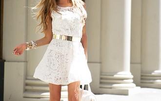 dress white skater dress floral haute & rebellious belt white white dress lace golden belt summer summer dress