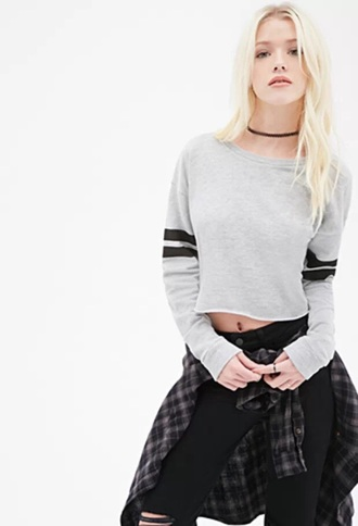 sweater forever 21 gray sweatshirt cropped