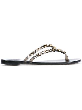 studded women sandals flat sandals grey metallic shoes