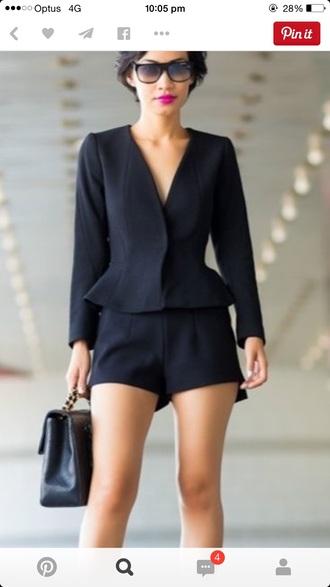 tailoring black jacket black shorts