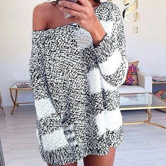 sweater wool black and white sweater cosy sweaters long sweater