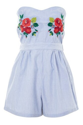 embroidered blue romper