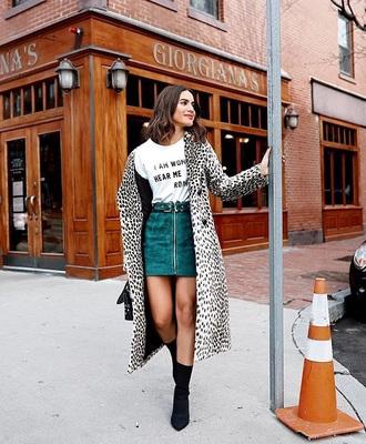 coat printed coat blue skirt sock boots leopard print skirt mini skirt teal white t-shirt t-shirt boots white with black spots black spots spotted long coat camila coleho print