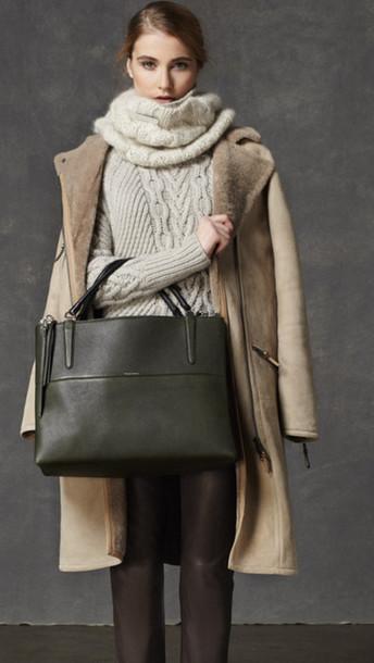 sweater lookbook fashion coach coat scarf pants bag