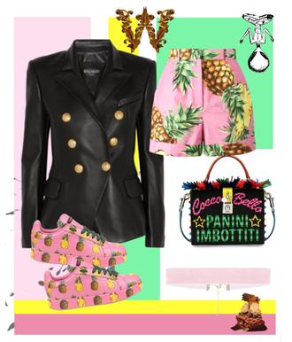 shorts wuklish style outthebox wuklishworld pink dolce vita balmain jacket pineapple