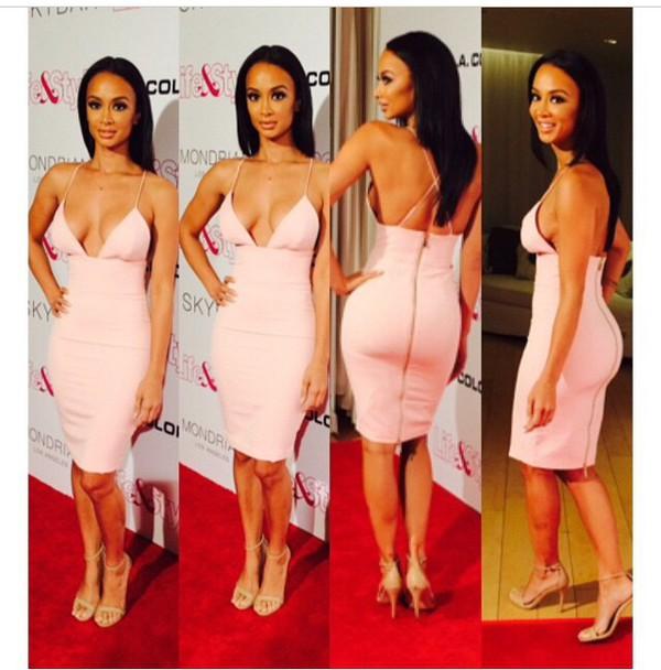 dress pink dress fashion style