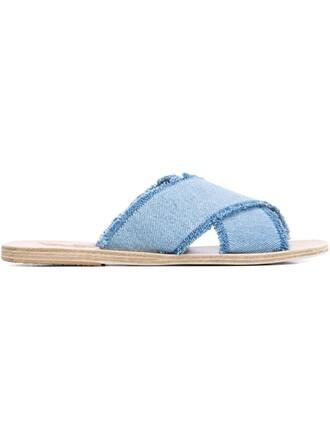 denim sandals flat sandals nude shoes