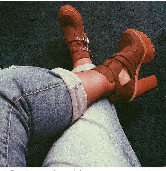 brown shoes chunky shoes platform shoes jeffrey campbell chunky heels chunky boots heels cut out ankle boots