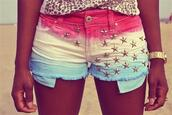 shorts,red,yellow,blue,stars,studs,short shorts,colorful,clothes,swag,jeans,denim shorts,usa,white,pink,blue stars,studded,rainbow,stud,pink shorts,white shorts,high waisted blue shorts,partiotic,star studded,tie dye,top,jewels,watch,coloured shorts,hot pink,light blue,shoes,summer,american,flag,multicolor,print,leopard print,sun,outfit,classy,jesns,mutlicolor,dress,pants,silverstars,tacks