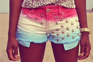 shorts red yellow blue stars studs short shorts colourful colours