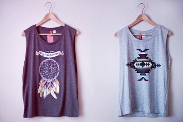 top t-shirt t-shirt vest baggy dreamcatcher aztec hipster feathers sleeveless pattern image indie