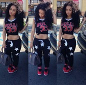 pants,india westbrooks,jordans,red,chicago bulls,purse,belly button ring,blouse,shirt,tank top,stars,harem,harem pants,black,white,t-shirt,top,black and white stars,women pants,sweatpants,black sweatpants,joggers,bag,faux fur coat,handbag,shoes,jeans,clothing line,fcc,new york city,black and white,33,star sweatpants,kicks with chicks,kicks,baggy pants,grey,logo,jersey,skinny,tight,heels,leggings,crop tops,india love,_indialove,curly hair,black t-shirt