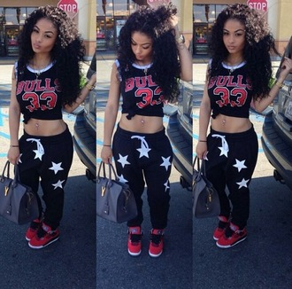 pants india westbrooks jordans red chicago bulls purse belly button ring blouse shirt stars joggers sweats allstar