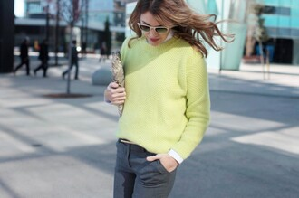 my daily style jacket pants sweater belt shoes sunglasses