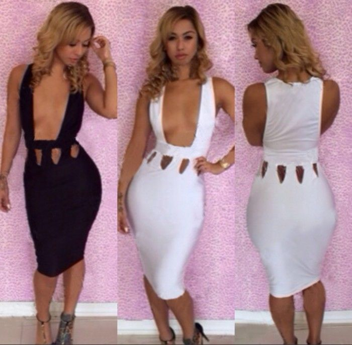 Womens Sexy Hollow Out Bandage Bodycon Nightclub Party Cocktail Pencil Dress | eBay